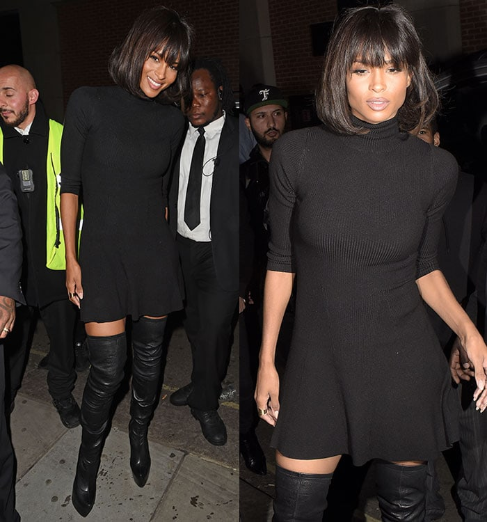 Ciara in a form-fitting black ribbed dress