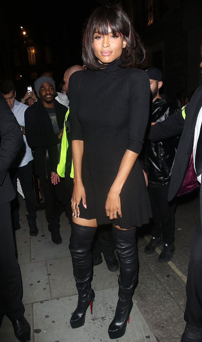 Ciara let her racy over-the-knee boots do the talking