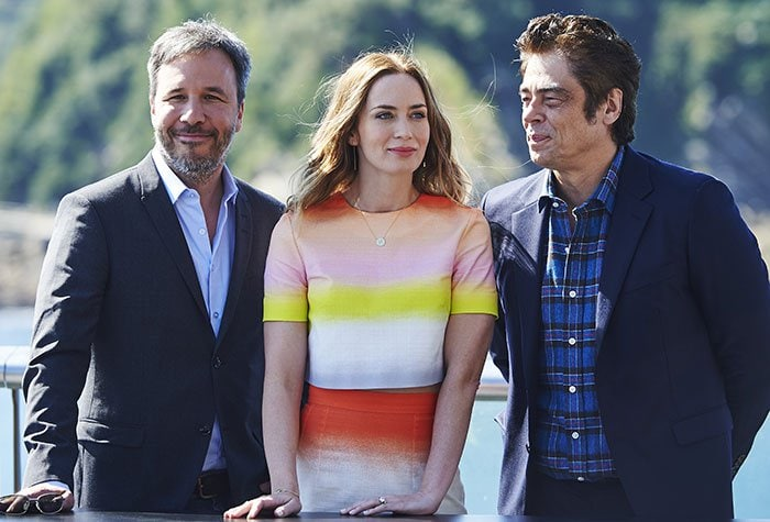 """From left-to-right: Denis Villeneuve, Emily Blunt and Benicio del Toro attend a photocall for their film """"Sicario"""""""