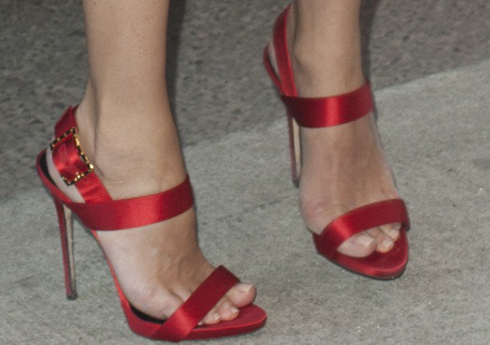 Diane Kruger's sexy feet in red satin Giuseppe Zanotti sandals