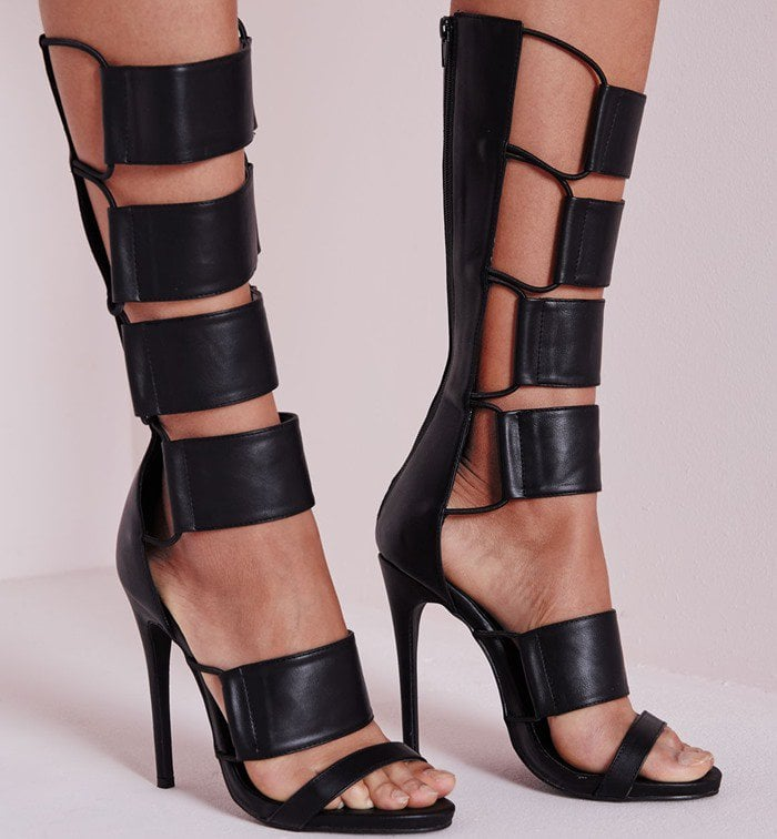 Elastic Detail Gladiator Heeled Sandals Black