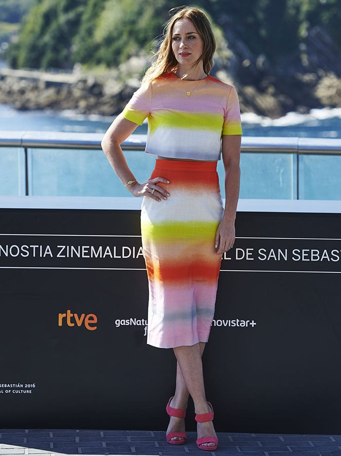 Emily Blunt shows off her summer style in a two-piece set from Jonathan Saunders