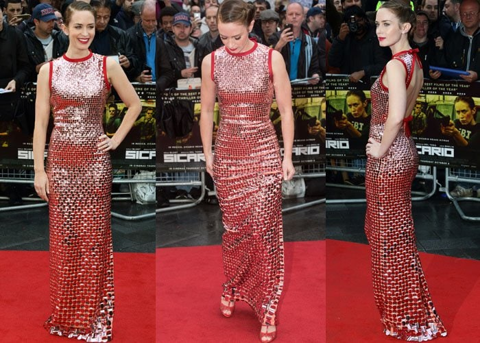 """Emily Blunt wears a sequin-embellished Prada dress at the premiere of her new movie """"Sicario"""""""