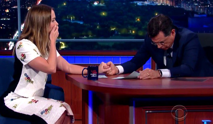 Emily Blunt makes a guest appearance on 'The Late Show with Stephen Colbert' in New York City