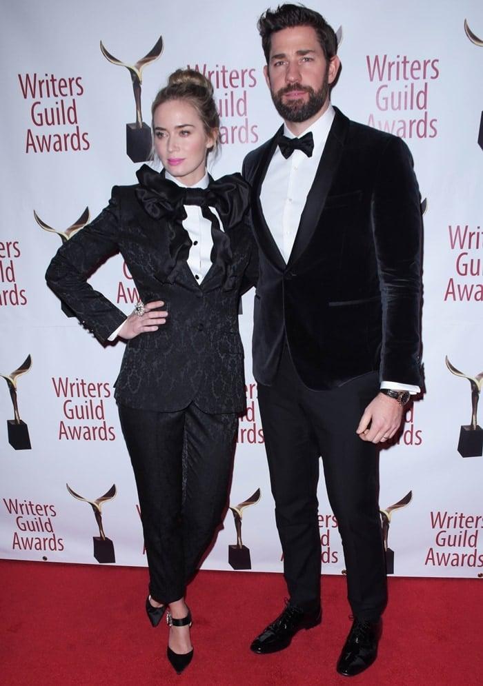 Emily Blunt and John Krasinski attend the 71st Annual Writers Guild Awards New York ceremony