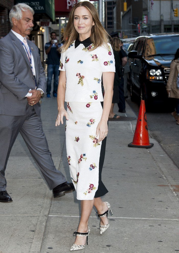 Emily Blunt pairs an Erdem dress with Nicholas Kirkwood pumps for a promotional TV appearance