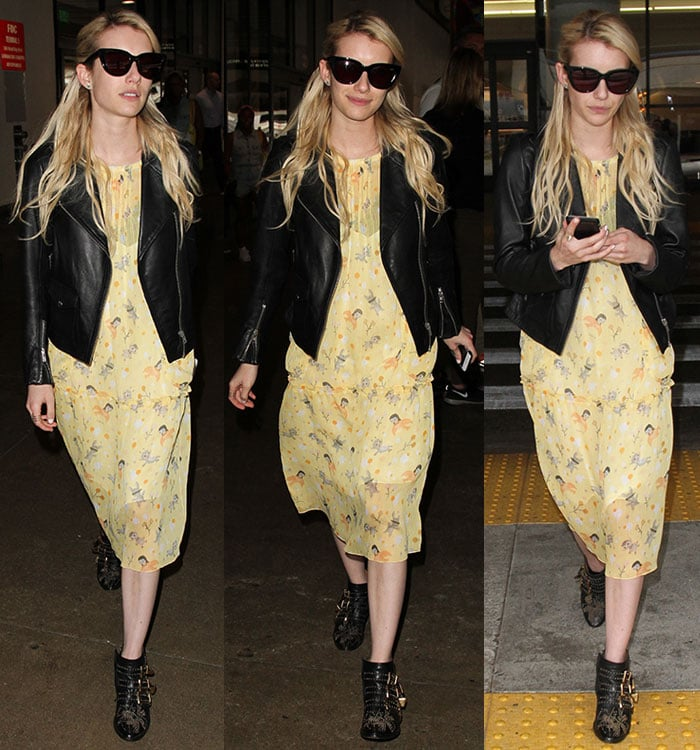 Emma Roberts Makes Summery Dress Edgy With Leather Jacket And Studded Boots