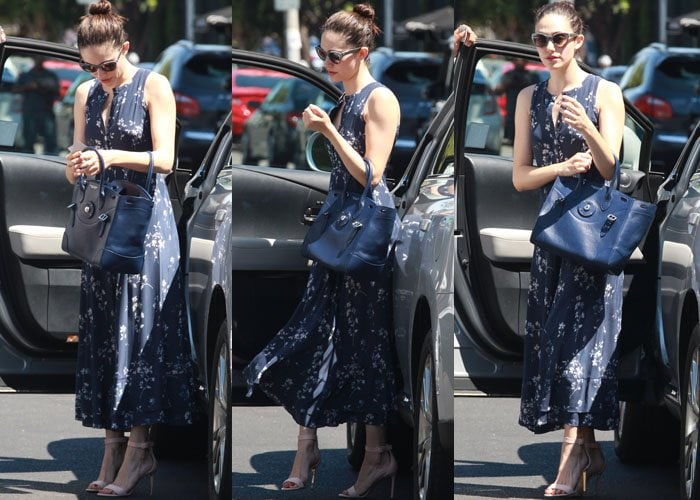 Emmy Rossum steps out of a car as she concludes a spa visit in Beverly Hills