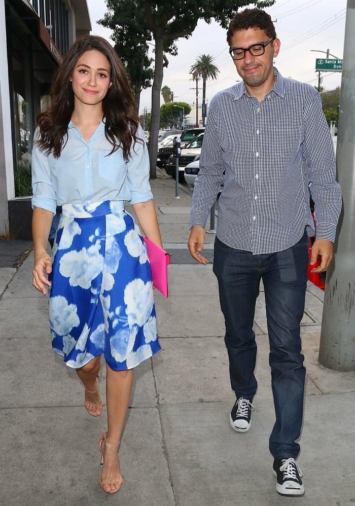 Emmy Rossum arrives at Craig's restaurant with boyfriend Sam Esmail