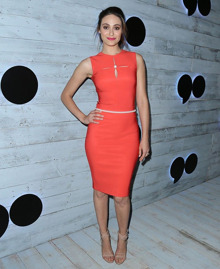 Emmy-Rossum-orange-fitted-dress-pearl-trims