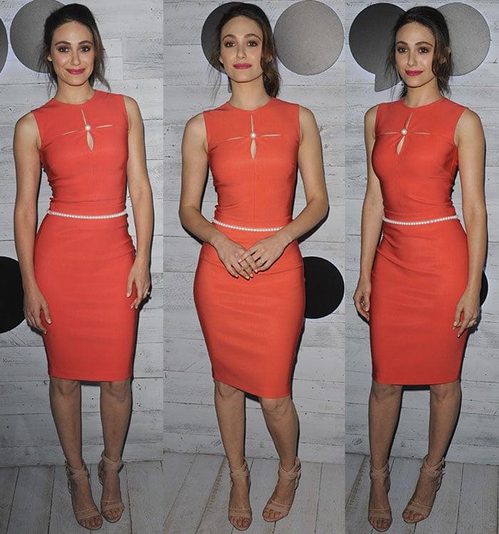 Emmy-Rossum-orange-skintight-dress-pearl-details