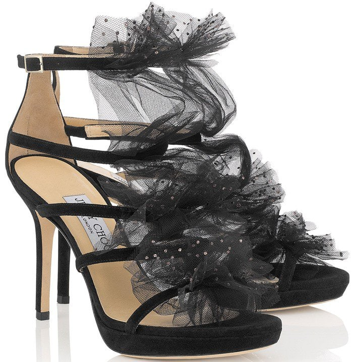 Jimmy Choo Floresse Tulle and Crystal Sandals