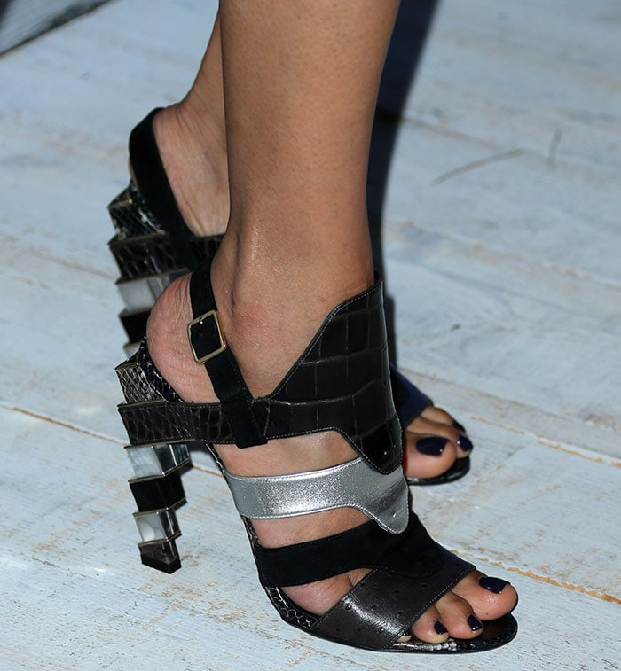 Freida Pinto shows off her feet inSalvatore Ferragamo Laos shoes