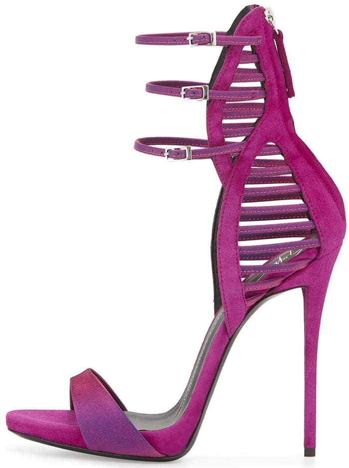 Giuseppe Zanotti Iridescent Satin & Suede Triple-Strap Sandal