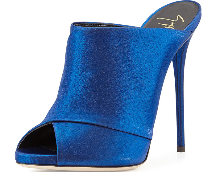 Giuseppe Zanotti Crisscross Satin Mule Sandals Electric Blue