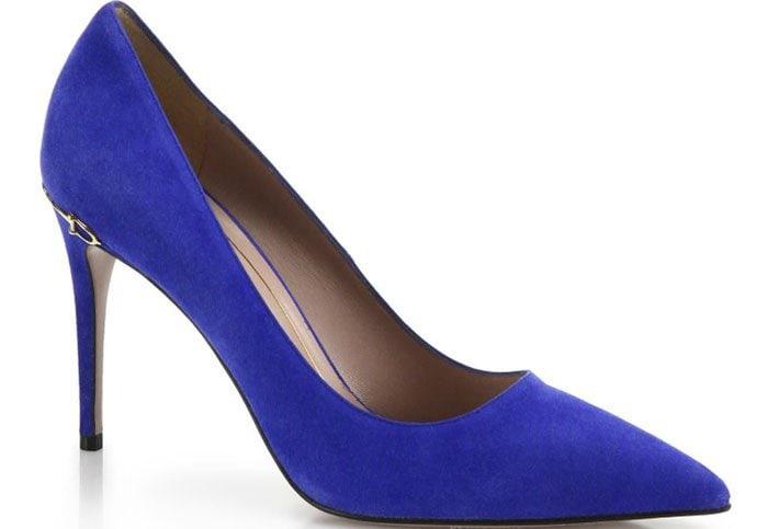 Gucci Adina Horsebit Suede Pumps Blue