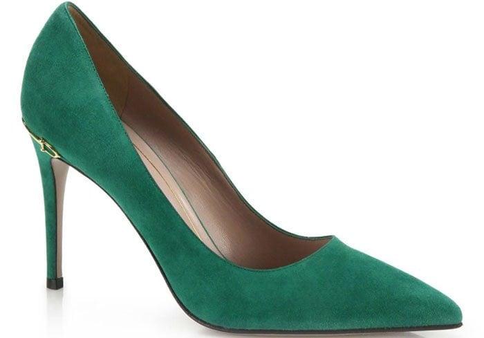 Gucci Adina Horsebit Suede Pumps Green