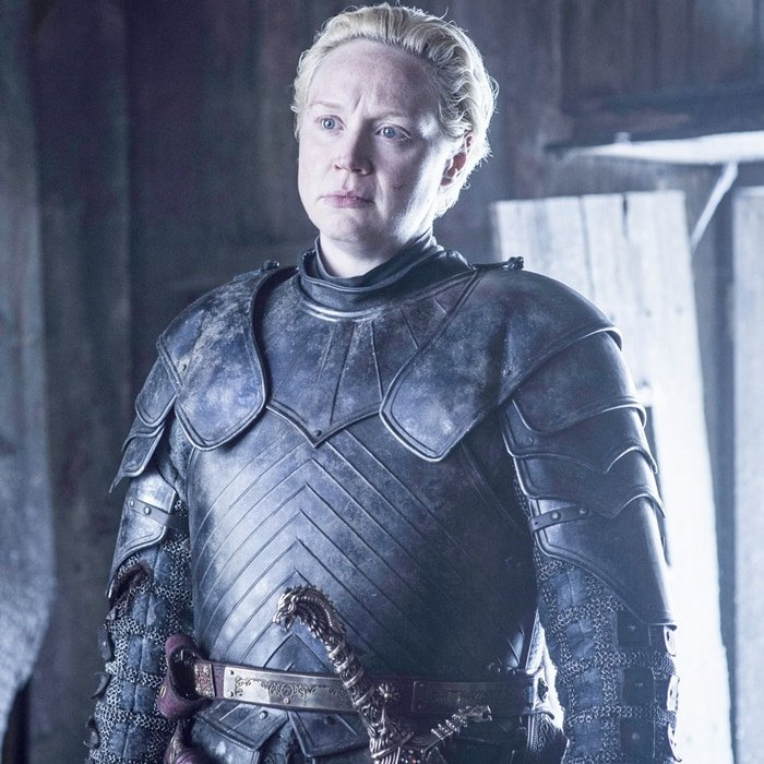 Gwendoline Christie as Brienne of Tarth, the first woman of the Seven Kingdoms to become a knight