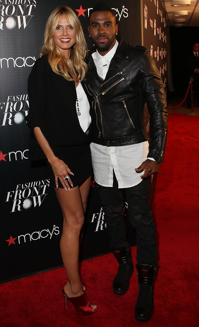 Jason Derulo, whose estimated net worth is $10 million dollars, and Heidi Klum attend Macy's Fashion's Front Row
