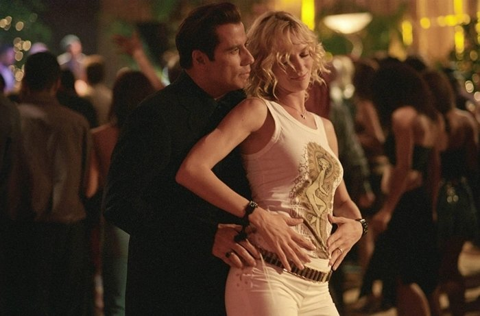 John Travolta and Uma Thurman also starred as Chili Palmer and Edie Athens in the film comedy Be Cool