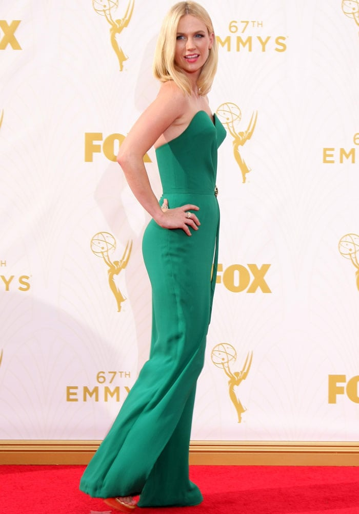 January Jones wears her shoulder-length blonde hair down as she attends the Emmy Awards