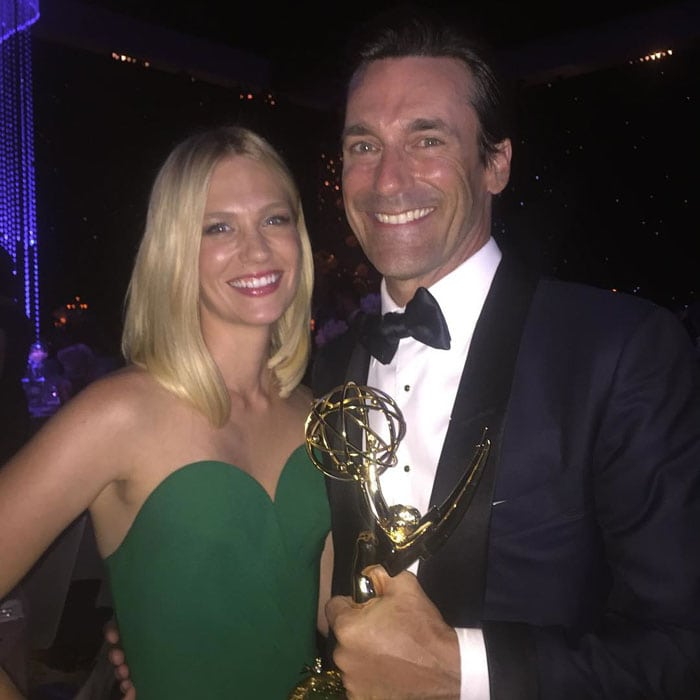 January Jones updates her Instagram followers on her awards night preparations and later uploads a photo with Emmy-winner Jon Hamm