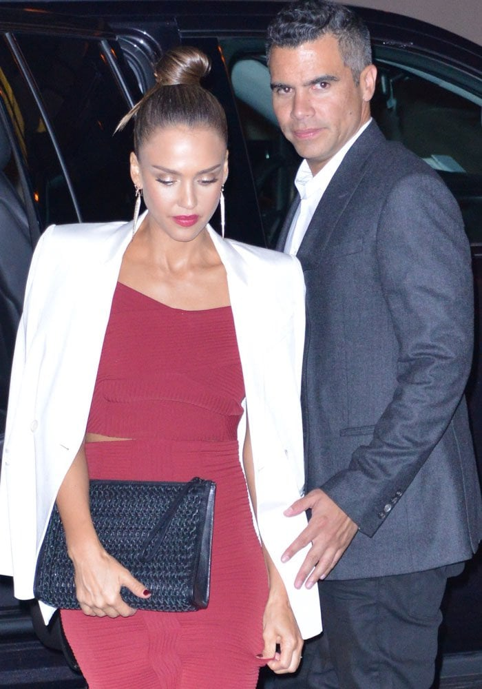 Jessica Alba and her husband Cash Warren return to their New York hotel together