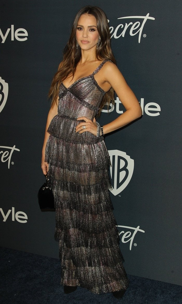 Jessica Alba attends the Warner Brothers and InStyle 21st Annual Post Golden Globes After Party