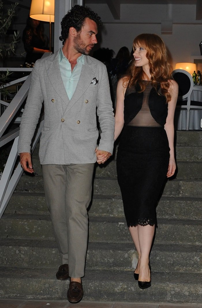 Actress Jessica Chastain attends the 'Desert Dancer' premiere gala dinner during the Ischia Global Festival with her boyfriend Gian Luca Passi de Preposulo