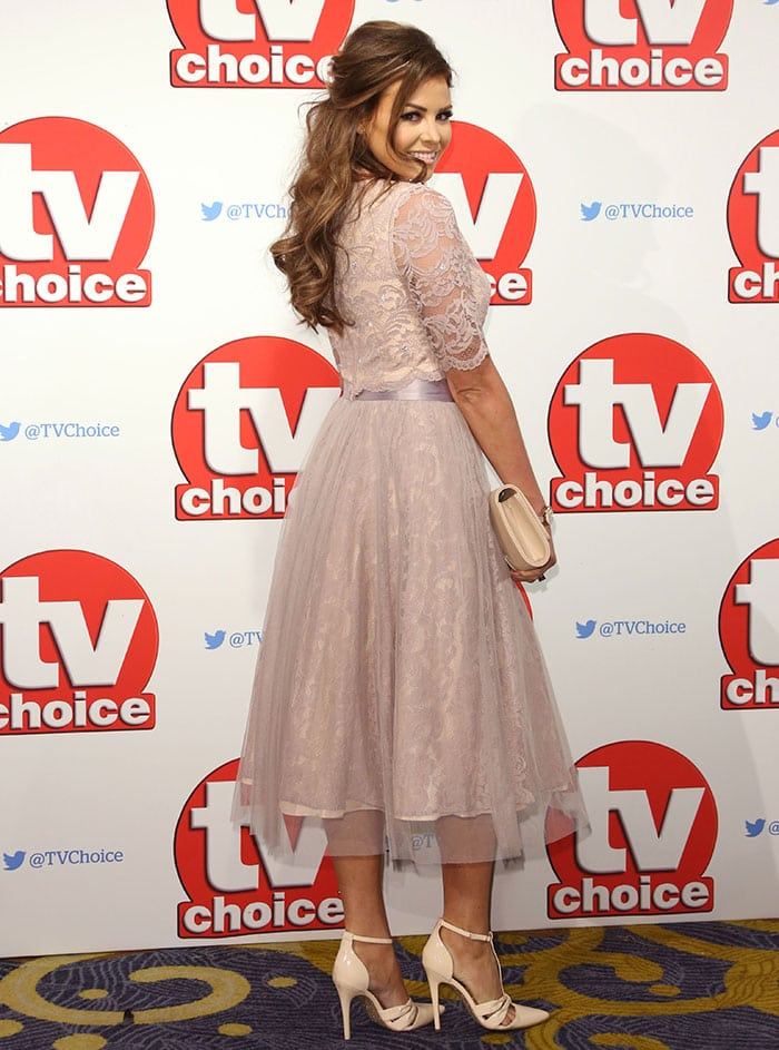 Jessica Wright looked demure in a two-piece prom-style ensemble