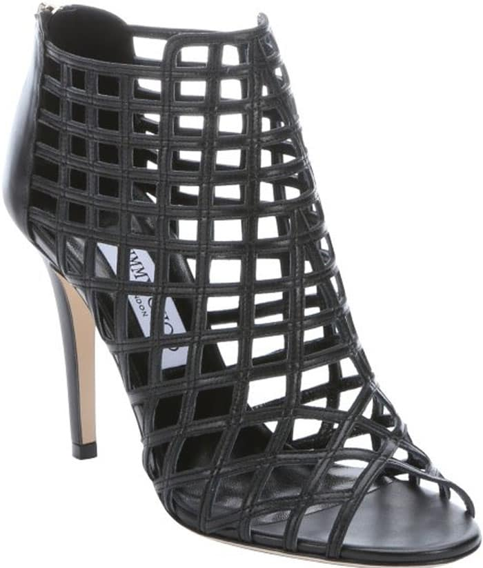Jimmy Choo Black Caged Leather Dassa Sandals