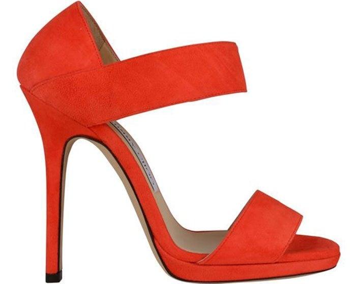 """Red Suede Jimmy Choo """"Lee"""" Sandals"""