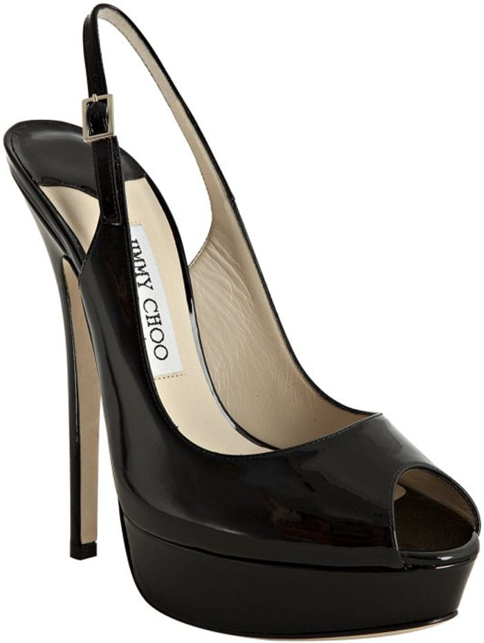 Black sky-high platform pump from Jimmy Choo with a skinny wrapped heel and alluring peep toe