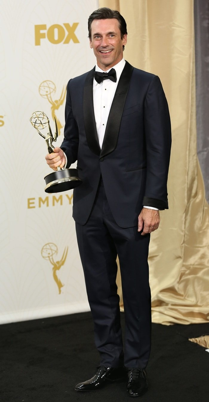 Jon Hamm won his first Emmy for playing troubled ad man Don Draper on AMC's Mad Men