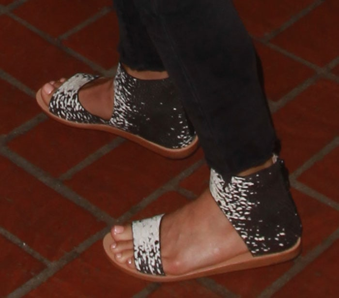 Julianne Hough's sandals are made from snake-embossed leather for an exotic look