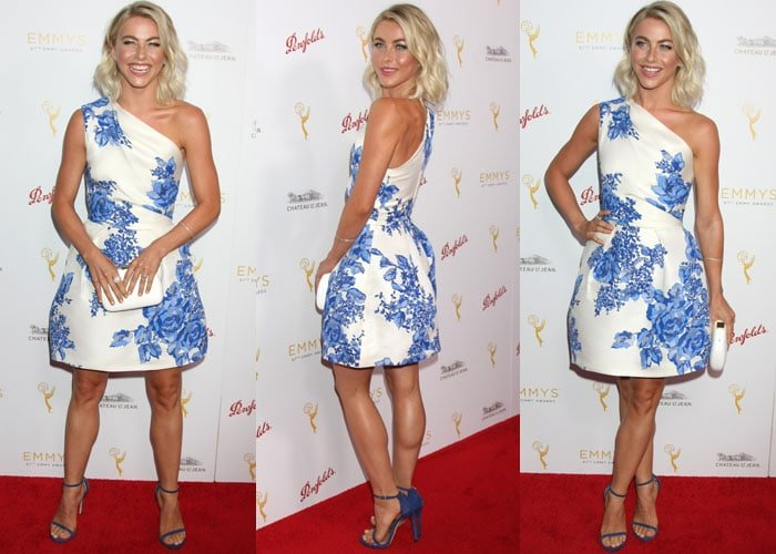 Julianne Hough wore a Monique Lhuillier dress featuring a one-shoulder design, a fitted wraparound bodice with pleating at the waist, and a mini length a-line skirt