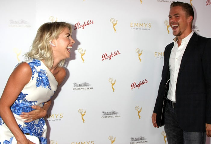 Julianne Hough goofing off with brother Derek Hough at the TV Academy Choreography Peer Reception at the Montage in Beverly Hills, California