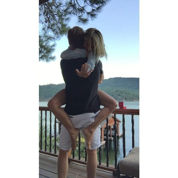 """Julianne Hough shared her engagement photo with the caption """"We are overwhelmed with joy and excitement to share with you our recent engagement! #fiancé #love"""