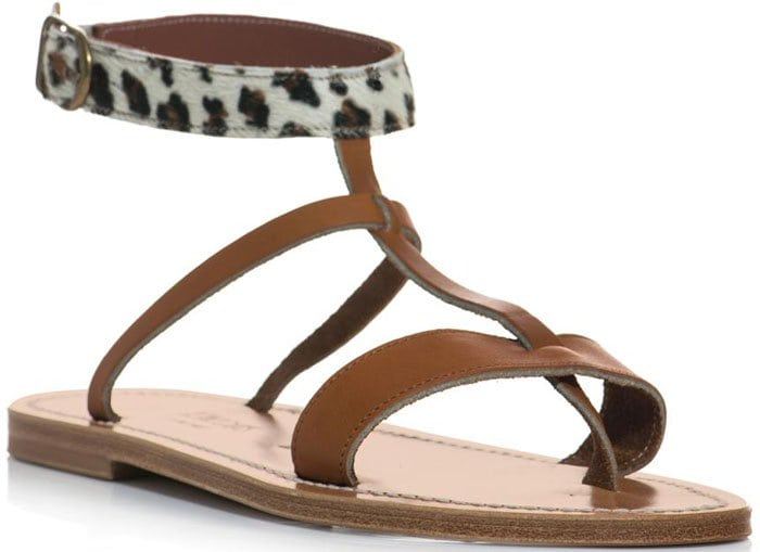 K. Jacques Leopard and Leather Sandals