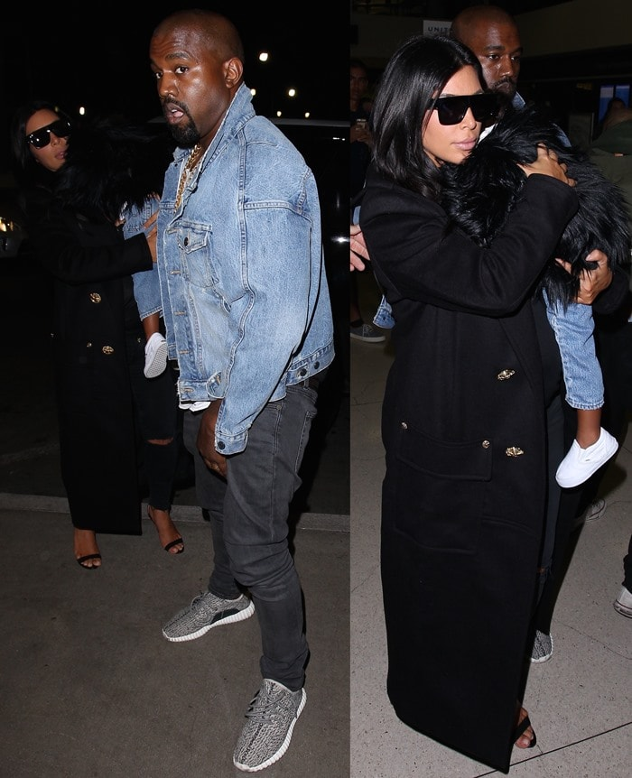 Kim Kardashian, Kanye West and North West evade the paparazzi as they enter LAX