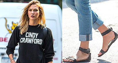 fb0d21d4a93 Beauty and Brains  Karlie Kloss Heads Off to First Day of College in Cindy  Crawford Sweatshirt