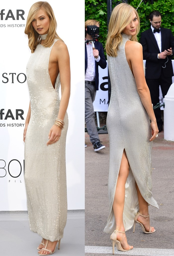 Karlie Kloss flashed her legs in a Tom Ford dress