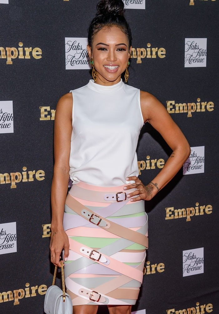 Karrueche Tran attends the unveiling of the Empire Curated Collection at Saks Fifth Avenue