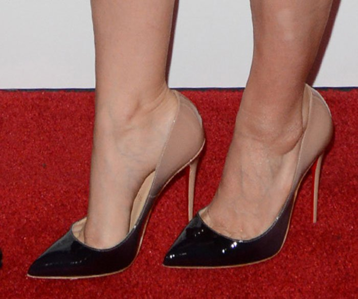 Kate Mara completes her space-themed look with a pair of Christian Louboutin pumps on her feet