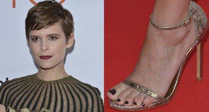 "fbd85142be7c Kate Mara in Unflattering Valentino Dress and Stuart Weitzman ""Nudist""  Sandals"