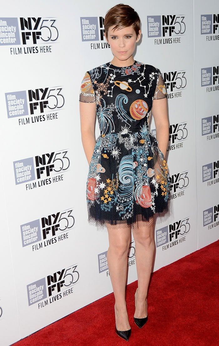 Kate Mara wears a space-themed Valentino dress to the premiere of her latest space-themed movie