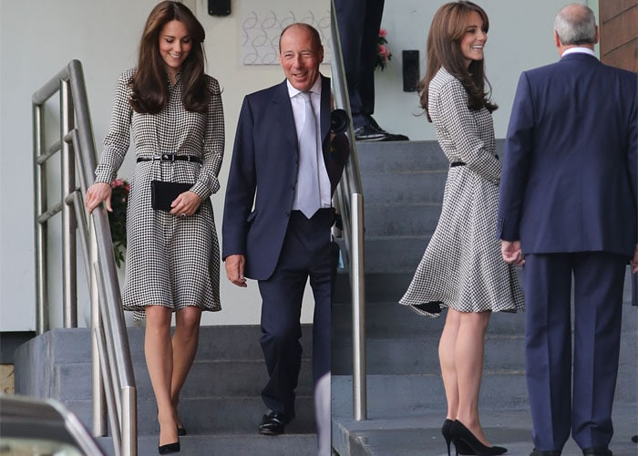 Kate Middleton wears a houndstooth dress from Ralph Lauren during a visit to the Anna Freund Centre