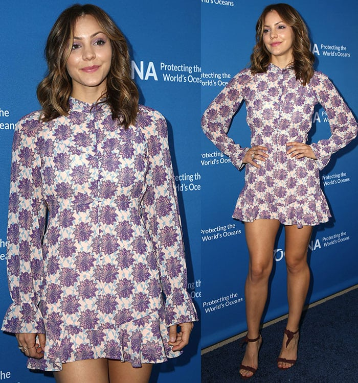 """Katharine McPhee shows off her brunette tresses and long legs at """"A Concert for Our Oceans"""""""