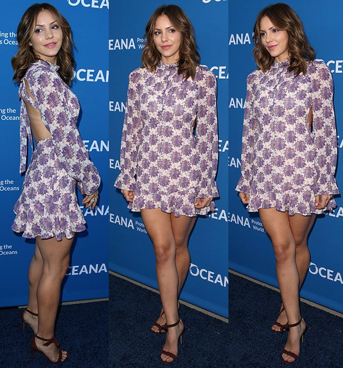 Katharine McPhee shows off the daring cutout on the back of her For Love & Lemons dress