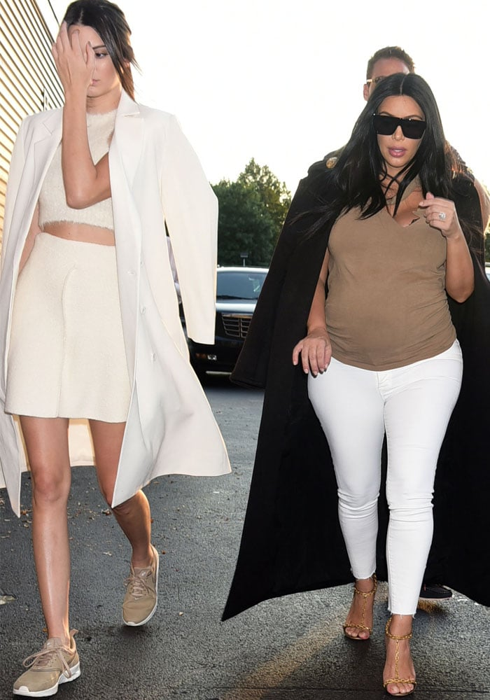 Kendall Jenner and Kim Kardashian arrive to watch a tennis match between the famous Williams sisters